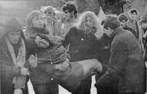 Injured civil rights protesters at Burntollet Bridge, a march which was modeled after the Selma-Montgomery march in the US. During this march, when protesters were attacked, police did nothing to help.