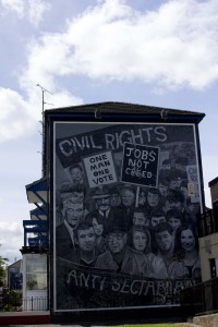 A mural memorializing the 1968 Civil Rights marches, which sought to peacefully oppose the existing structures in Northern Ireland, and to highlight inequality in Northern Ireland. The civil rights movement was met with violence from majority Unionist police forces and Protestant militia.
