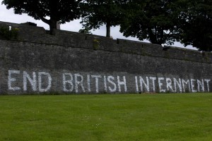 Painting on the Protestant walls demanding an end to British internment of prisoners of war.