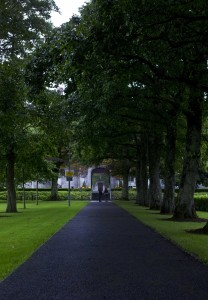 The walkway leading up to the entrance in the walls of the old center of NUI Galway.